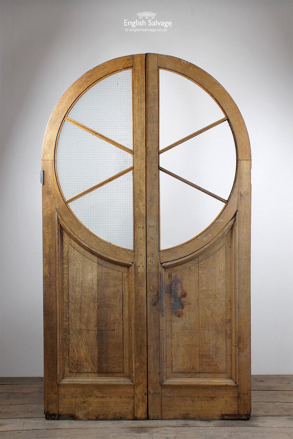 Arched Oak Circular Glass Framed Double Doors