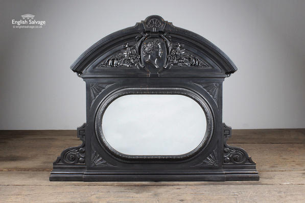 Arched Top Mirrored Cast Iron Overmantel