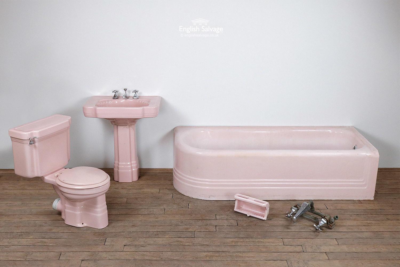 Art Deco pink bathroom suite