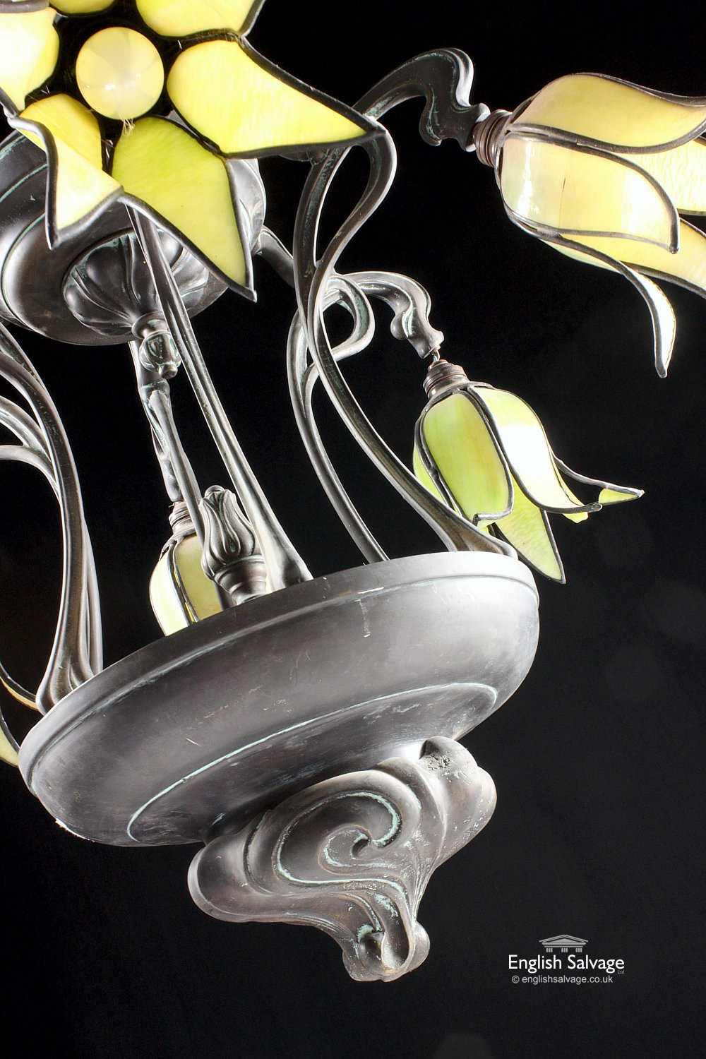 Art Nouveau Ceiling Light With Lily Shades