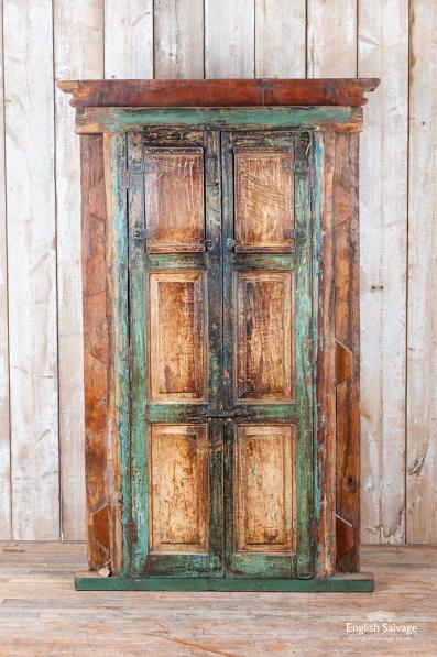 Beautiful old carved door in frame