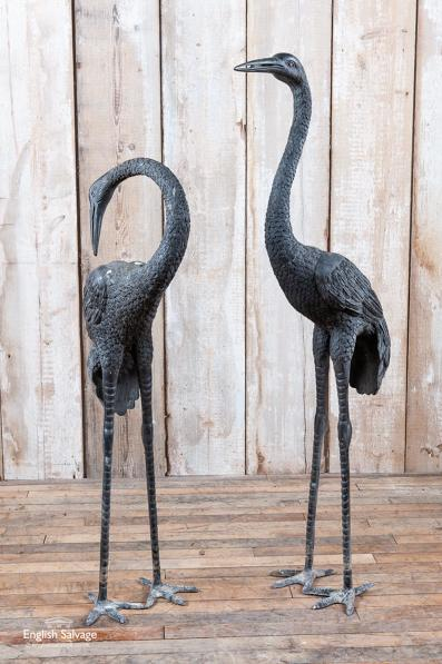 Beautiful pair of antique bronze cranes