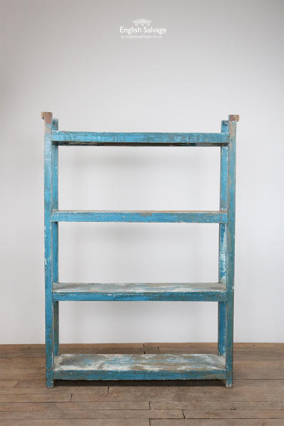 Blue painted hardwood shelving unit