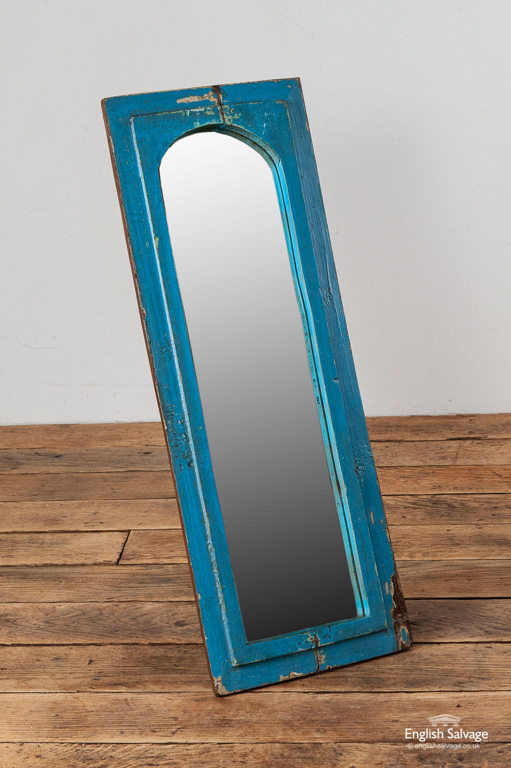 Broken Glass Blue Painted Arch Mirror