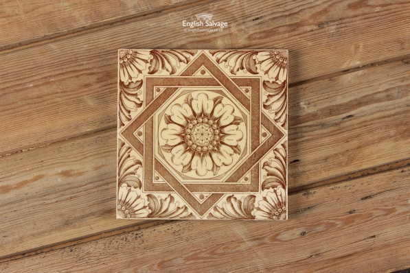 Brown and Cream Floral and Patterned Tiles