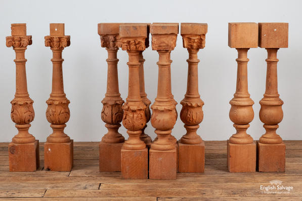 Carved pine stair spindles balustrade