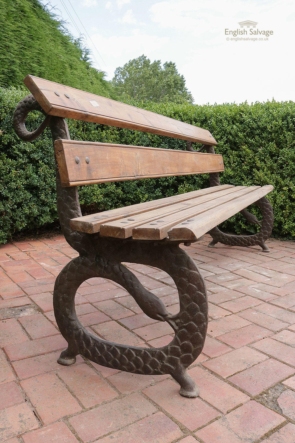 Cast Iron And Reclaimed Teak Serpent Bench