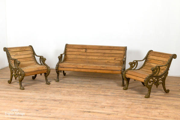 Cast iron and teak garden bench and chairs