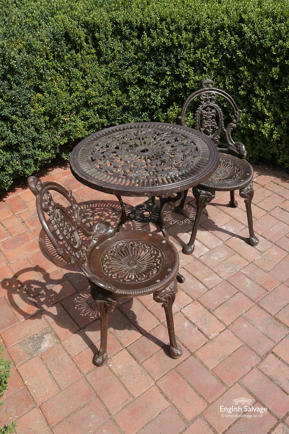 Cast Iron Garden Table And Two Chairs