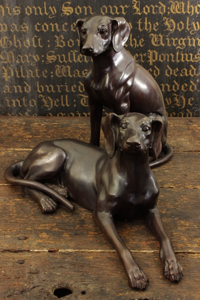 Characterful Bronze Hound Statues
