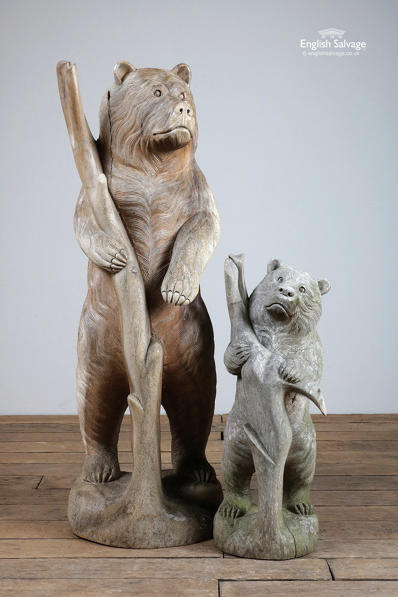 Charming carved hardwood bear statues