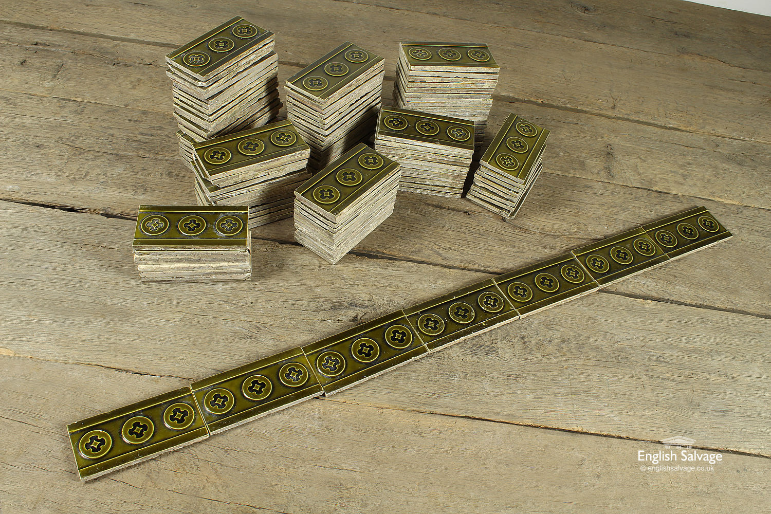 Dark Green Decorative Glazed Border Tiles