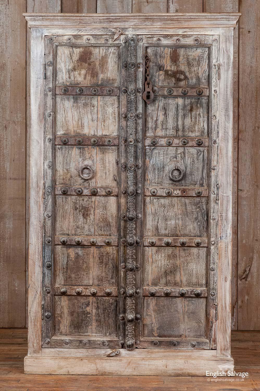 Dark Hardwood Cupboard With Antique Doors
