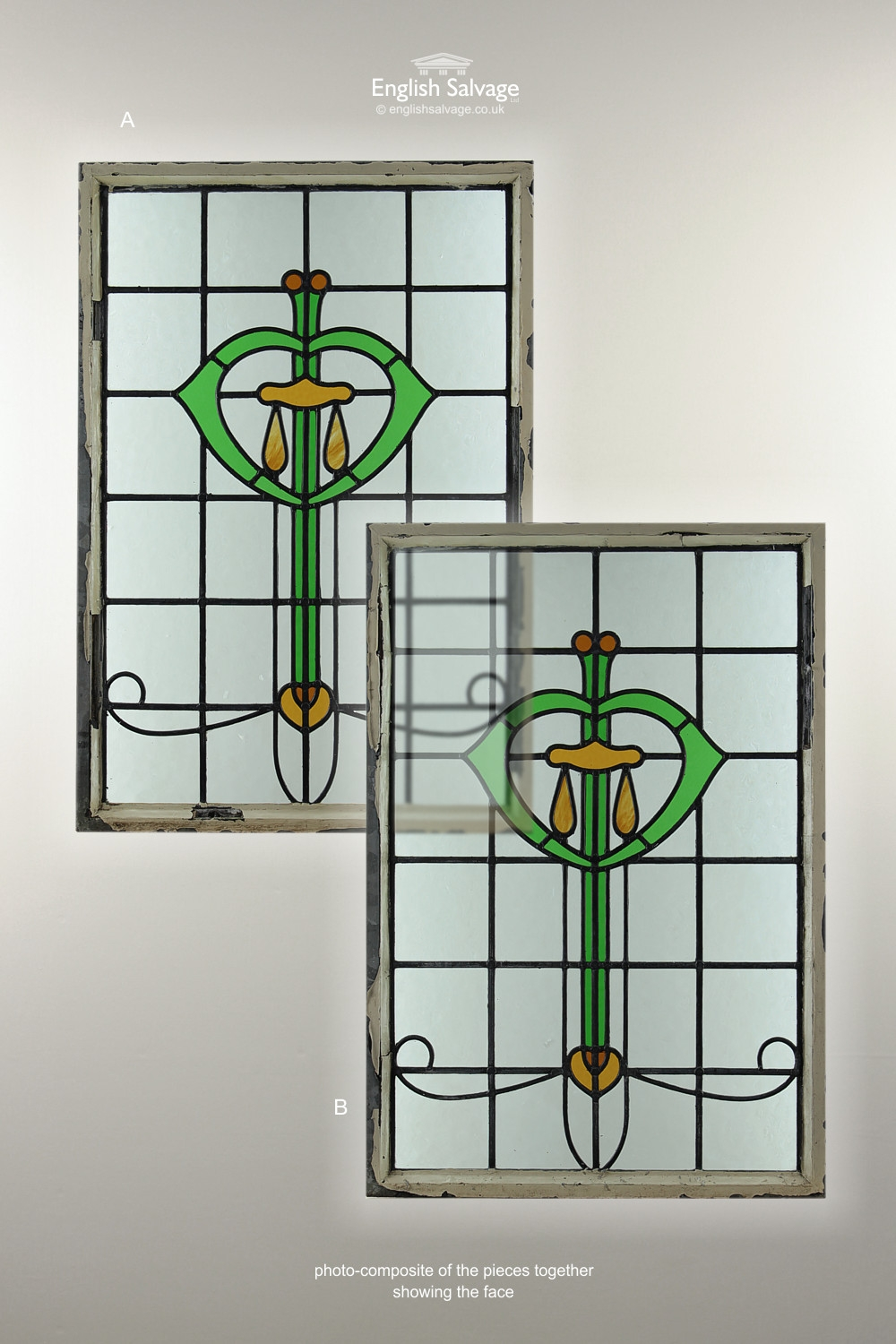 Decorative Art Nouveau Stain Glass Window