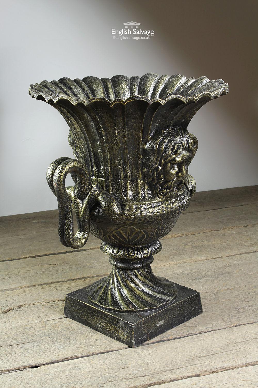 Decorative Cast Serpent Urn Garden Planter