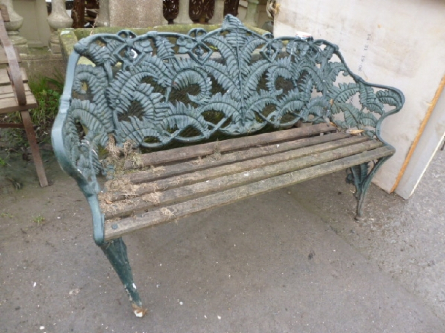 Decorative Green Cast Iron Garden Bench