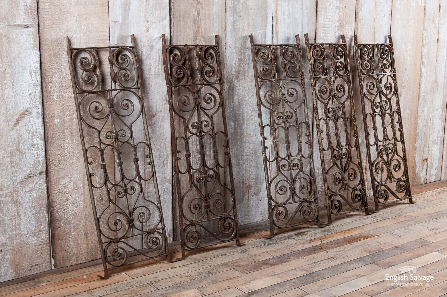 Decorative wrought iron scrollwork railings