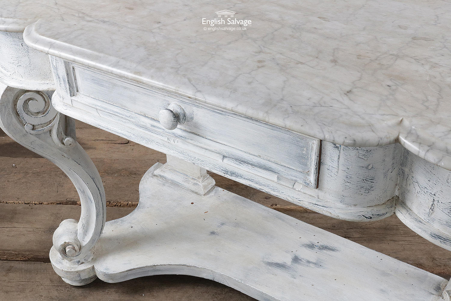 Distressed Marble Top Wooden Demilune Table
