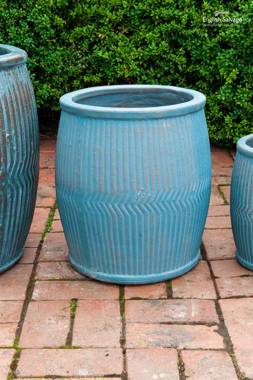 Dolly Tub Style Blue Terracotta Planter