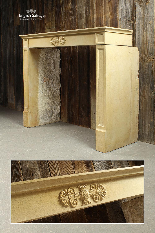 Elegant Antique French Limestone Fireplace
