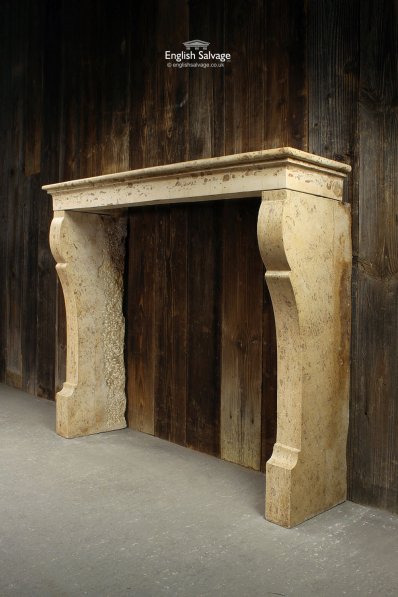 French Antique Limestone Fire Surround