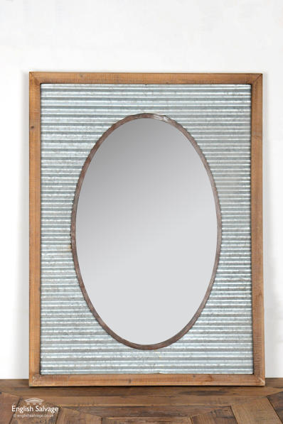 Galvanised washboard mirror