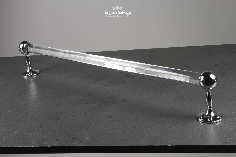 Glass Towel Rail With Chrome Brackets