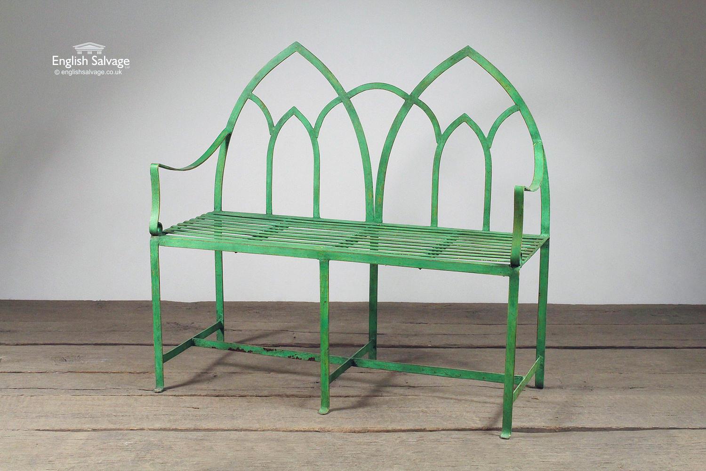 Gothic Style Green Garden Bench