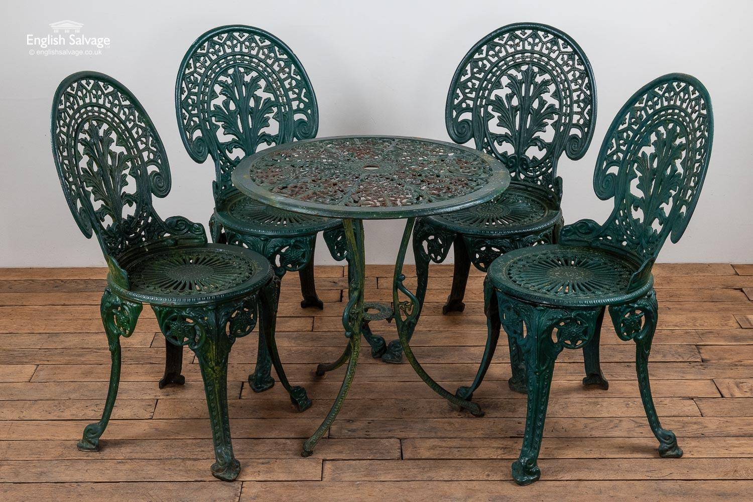 Green Cast Iron Garden Table And Chairs