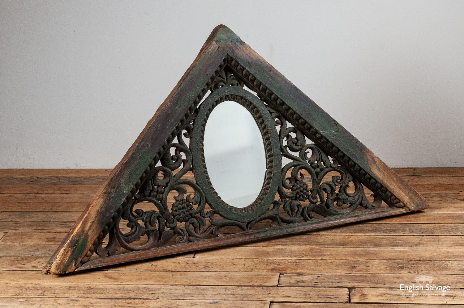 Hand Carved Wood Triangular Frame Oval Mirror