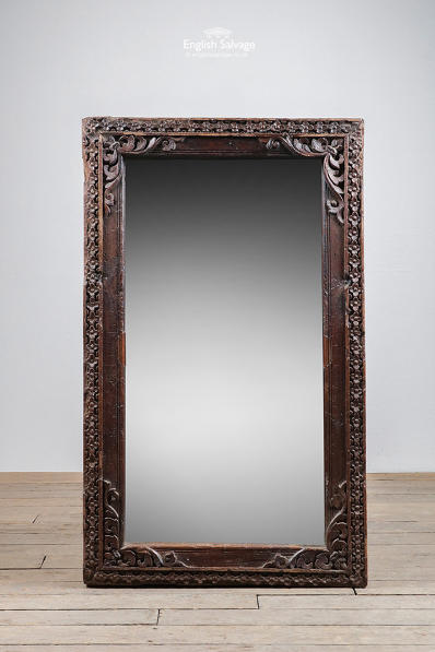 Handcarved hardwood rustic wall mirror