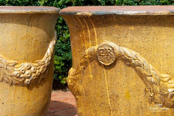 Impressive terracotta pots with swag detail