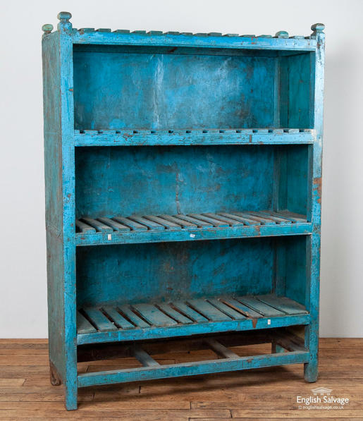Indian blue shelving unit painted metal sides
