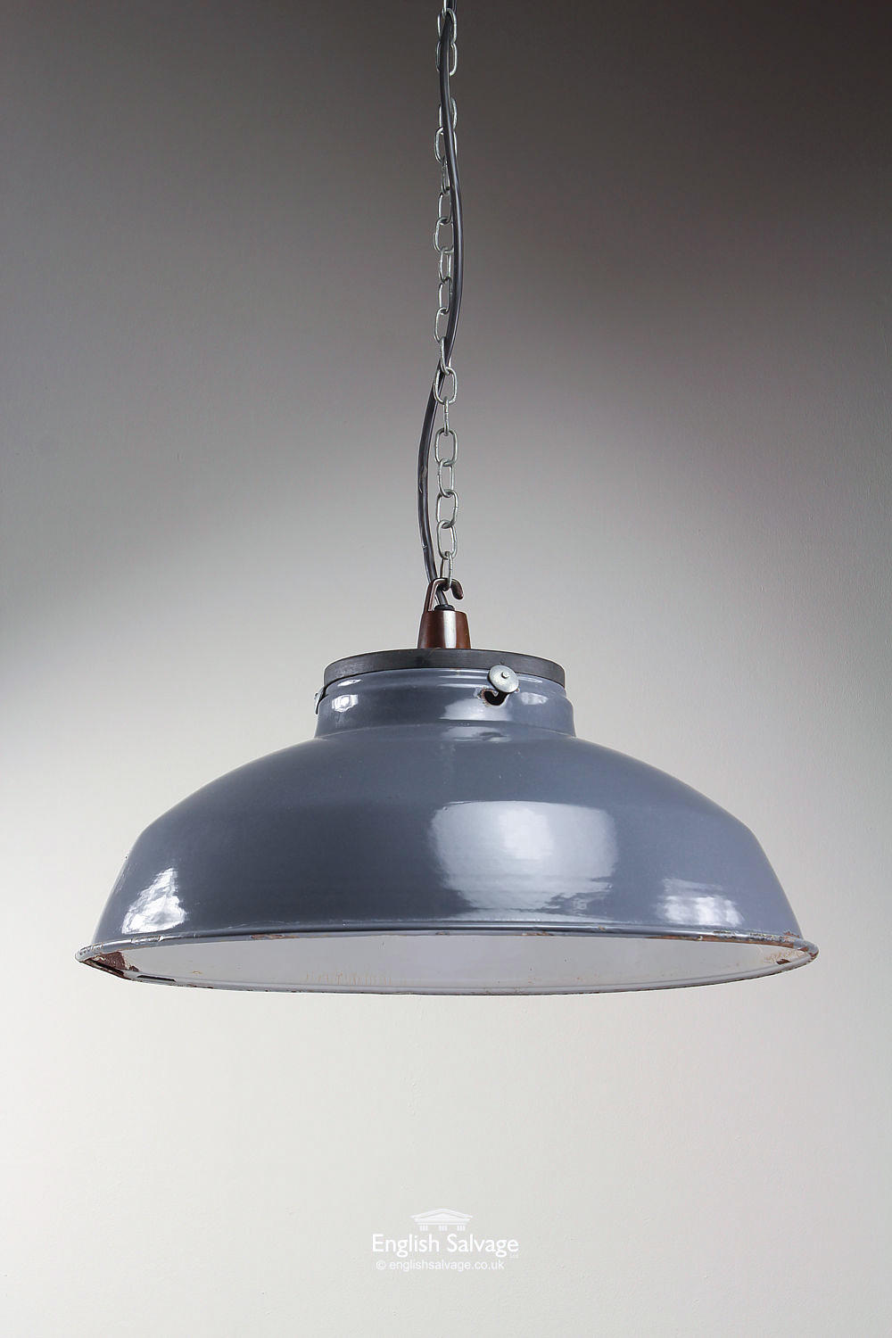 Industrial Grey Dome Pendant Enamelled Lights