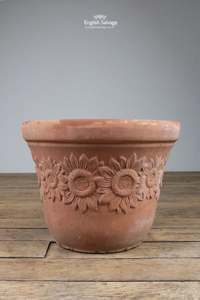 Italian terracotta planter sunflower motif
