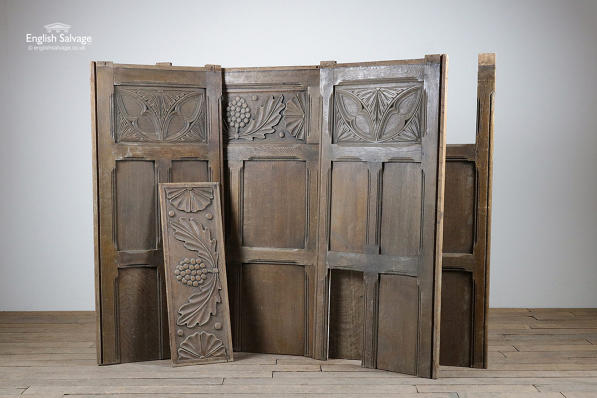 Job lot of four antique carved oak panels