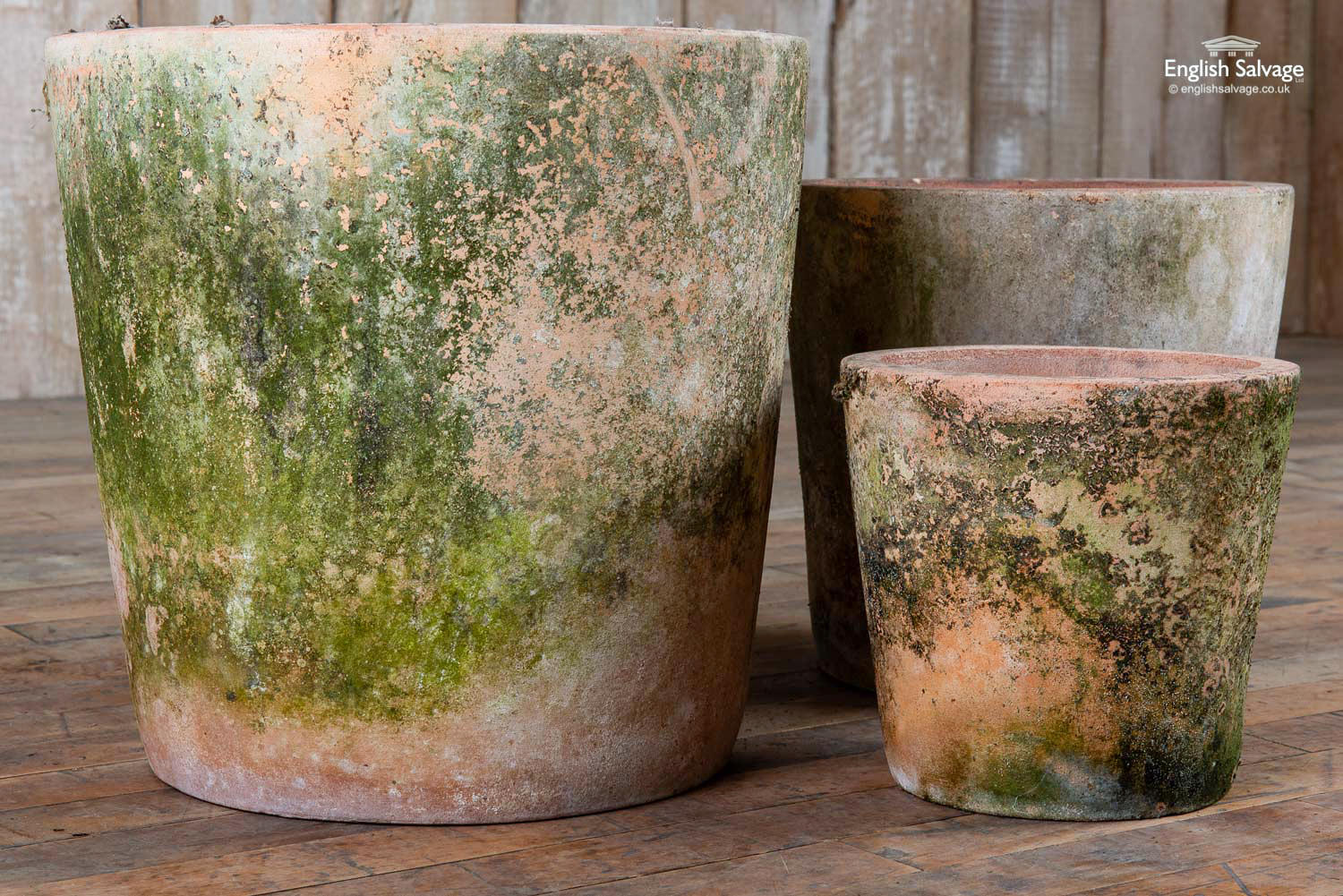 Large Aged Terracotta Pots With Moss Patina
