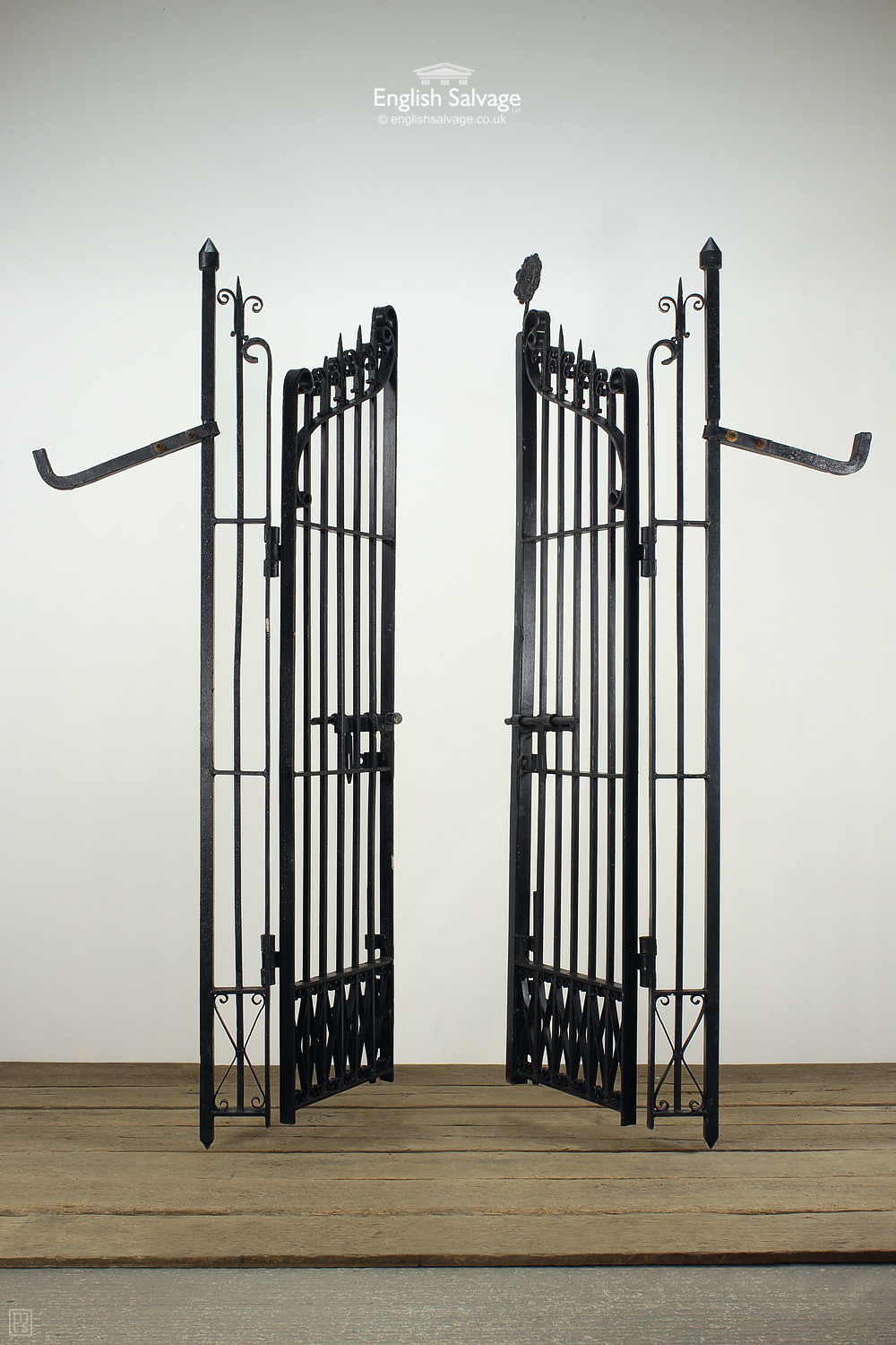 Large Black Ornate Wrought Iron Garden Gates