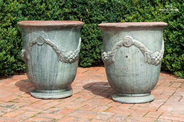 Large glazed sage terracotta pots with swags