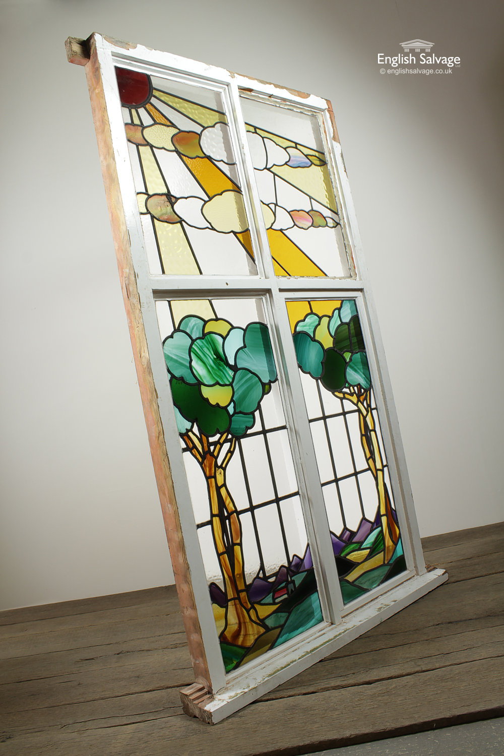 Large Painted Glass Panel Wood Framed Window