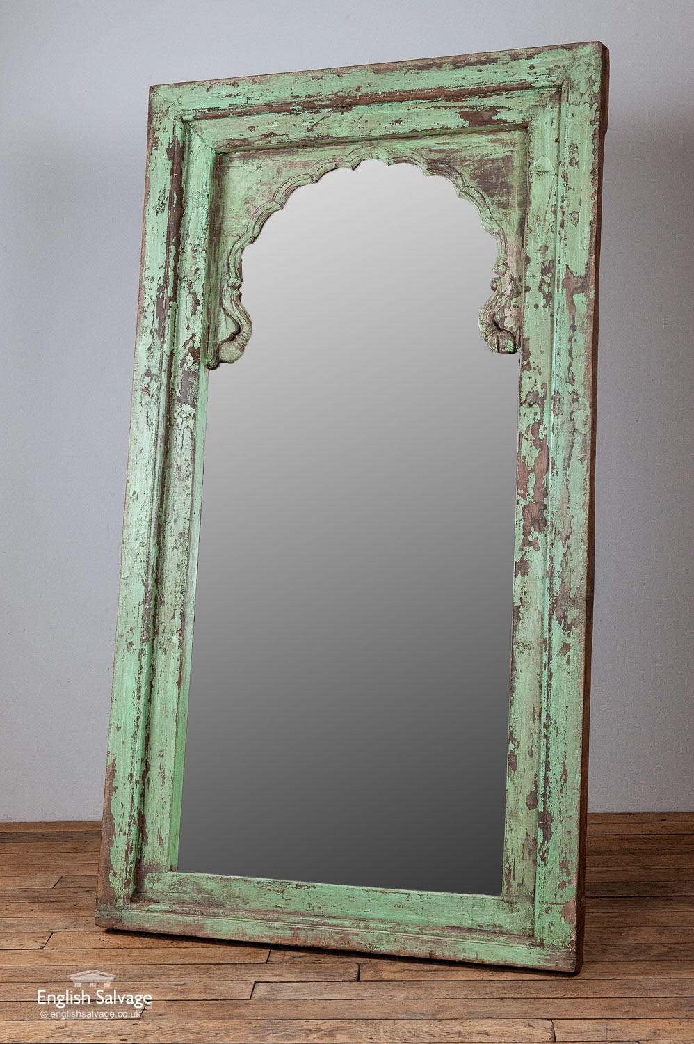 Large Pale Green Painted Hardwood Wall Mirror