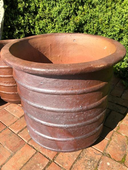 Large ribbed stoneware garden planters