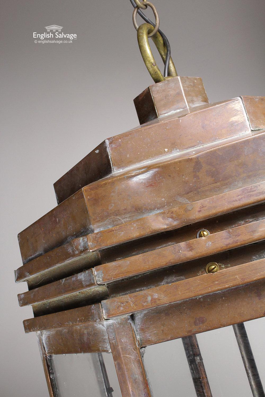 Large Vintage Octagonal Copper Ceiling Light