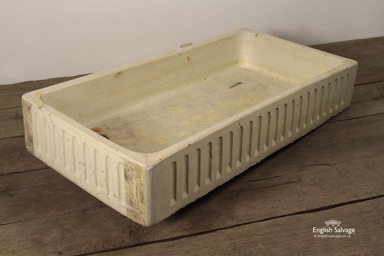 Long Cream Fluted Earthenware Trough Sink