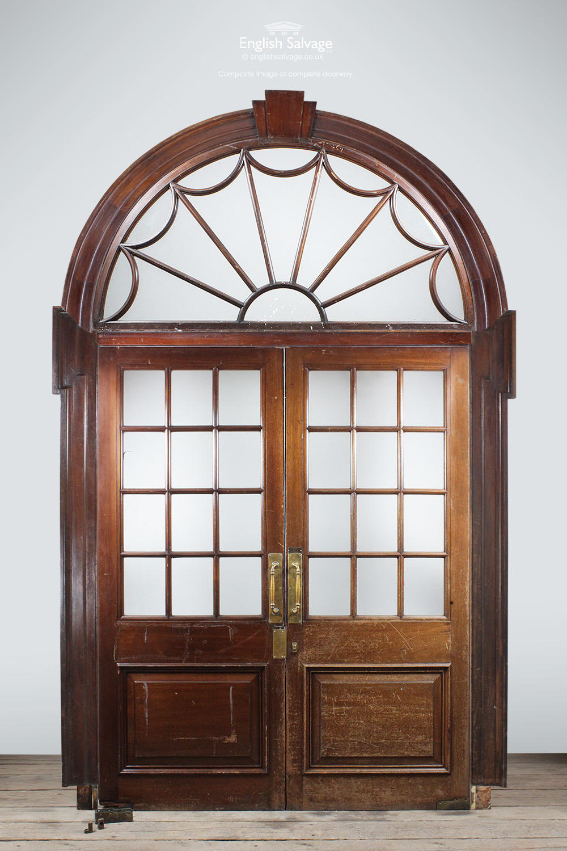Mahogany Framed Double Doors Arched Fanlight