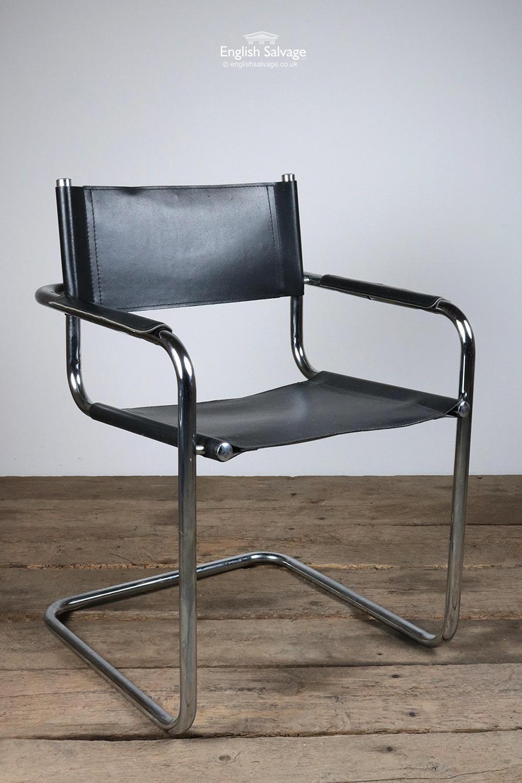 Modernist Tubular Metal & Leather Armchair
