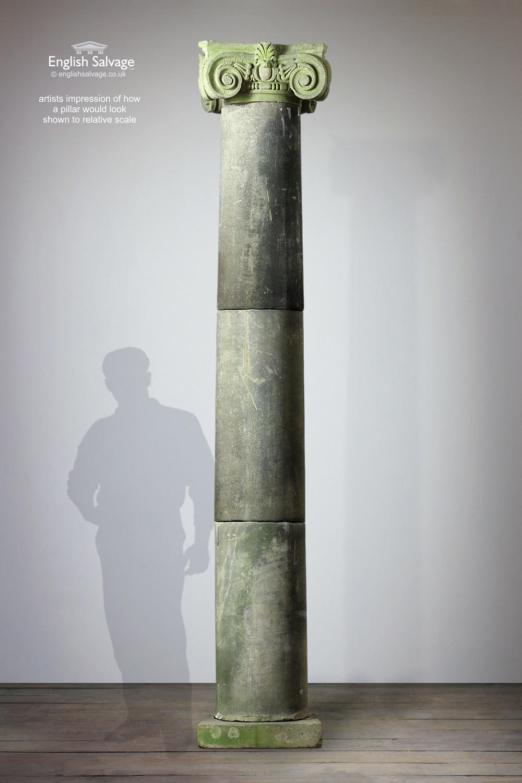 Monumental 19th C Classical Stone Pillars