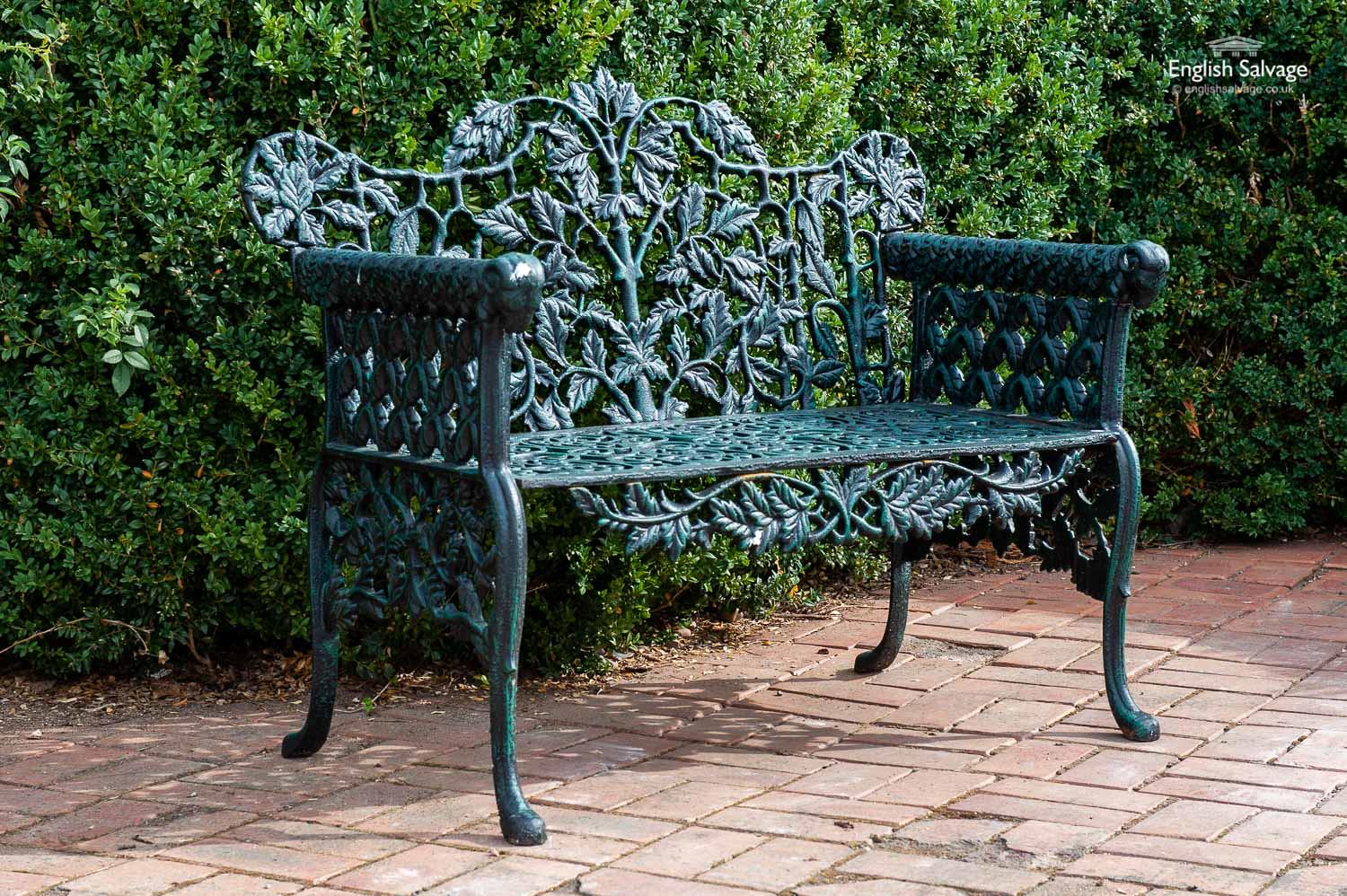 Oak Leaf Green Cast Iron Garden Bench