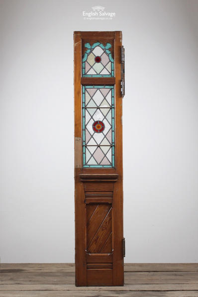 Old Leaded Stained Glass Door Panel