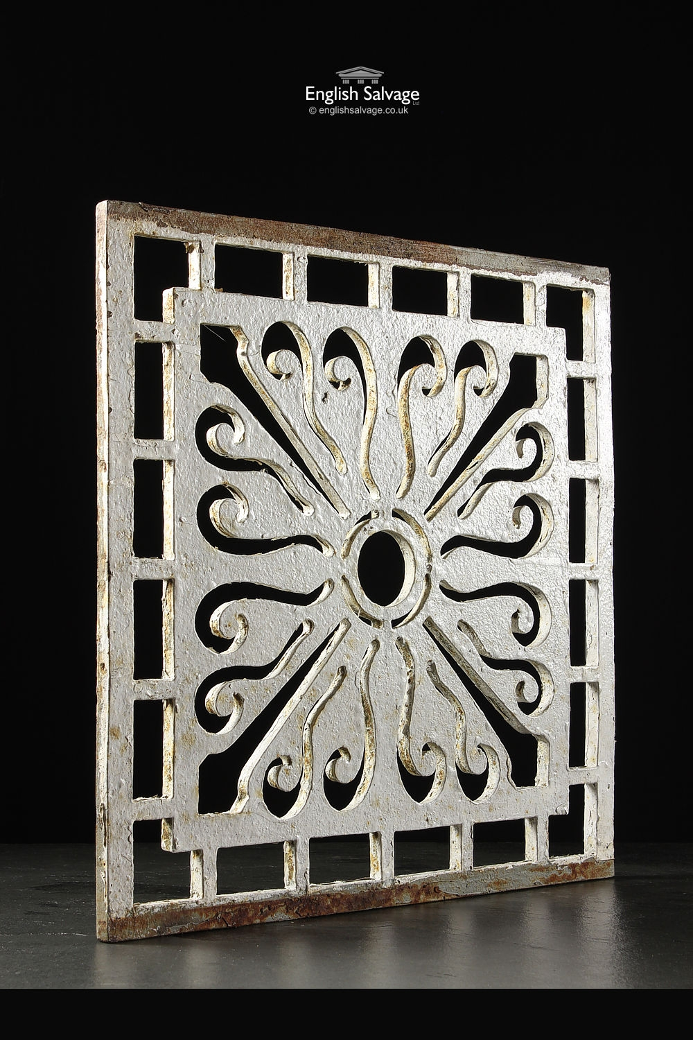Old Painted Cast Iron Grille Grate Vent Panel